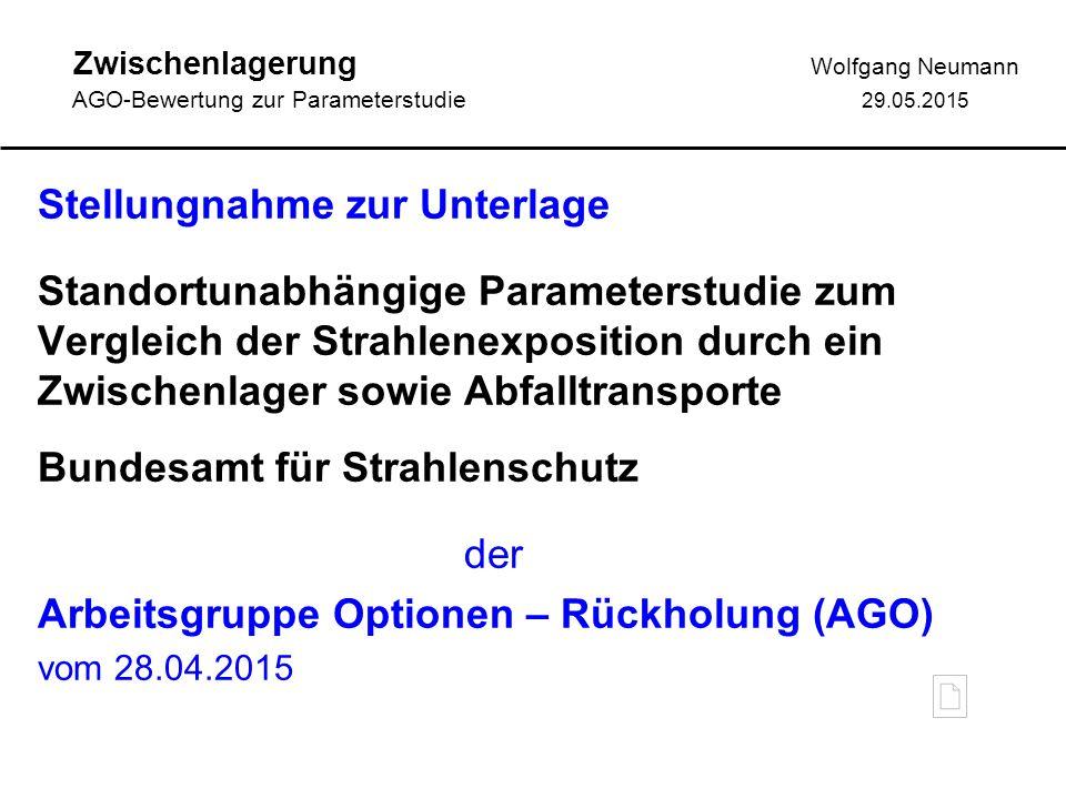 Zwischenlagerung Wolfgang Neumann AGO-Bewertung zur Parameterstudie 29.05.2015 AGO-Fazit: Die Ergebnisse der Parameterstudie hinsichtlich der Belas- tungen durch Direktstrahlung sind plausibel.