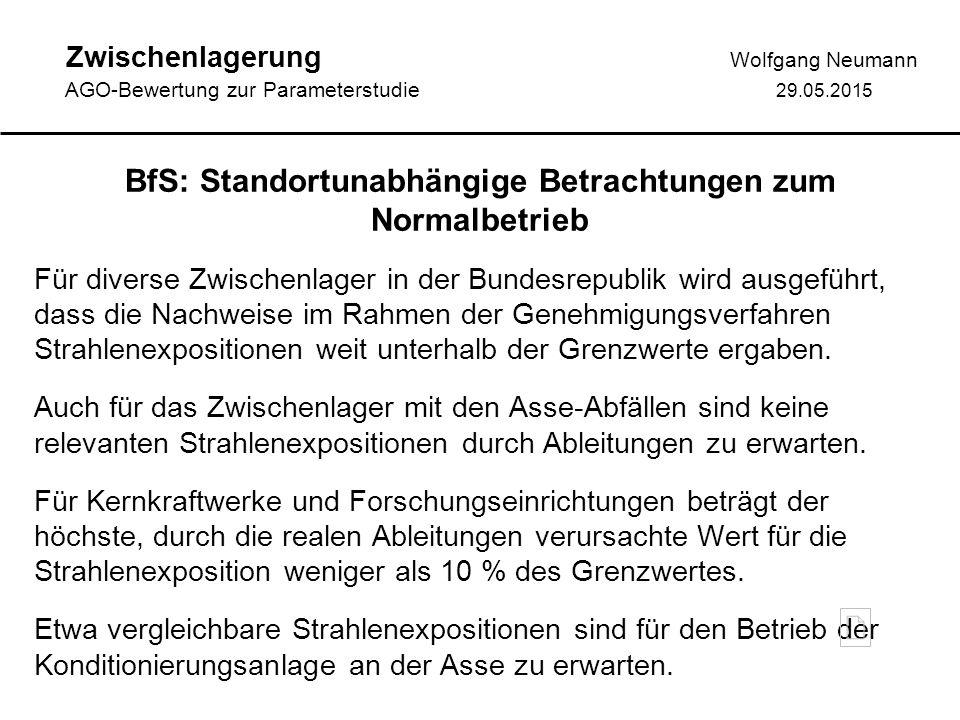 Zwischenlagerung Wolfgang Neumann AGO-Bewertung zur Parameterstudie 29.05.2015 BfS: Standortunabhängige Betrachtungen zum Normalbetrieb Für diverse Zwischenlager in der Bundesrepublik wird ausgeführt, dass die Nachweise im Rahmen der Genehmigungsverfahren Strahlenexpositionen weit unterhalb der Grenzwerte ergaben.