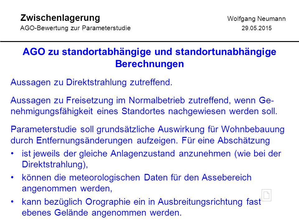 Zwischenlagerung Wolfgang Neumann AGO-Bewertung zur Parameterstudie 29.05.2015 AGO zu standortabhängige und standortunabhängige Berechnungen Aussagen zu Direktstrahlung zutreffend.