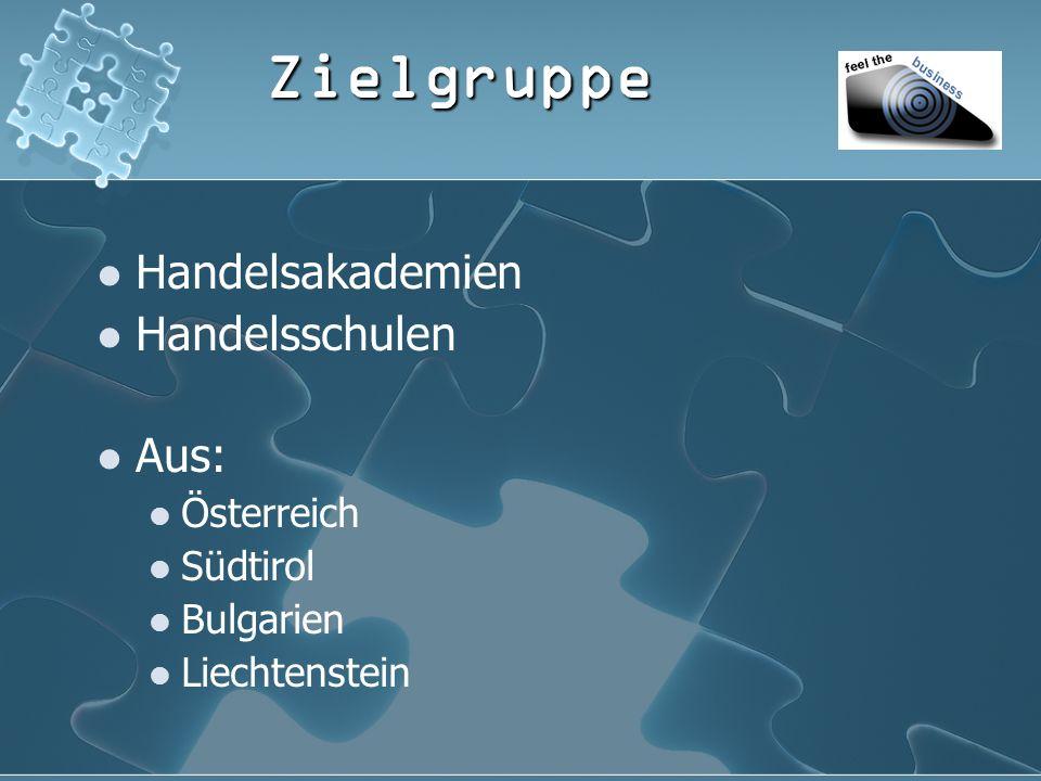 Zielgruppe Handelsakademien Handelsschulen Aus: Österreich Südtirol Bulgarien Liechtenstein