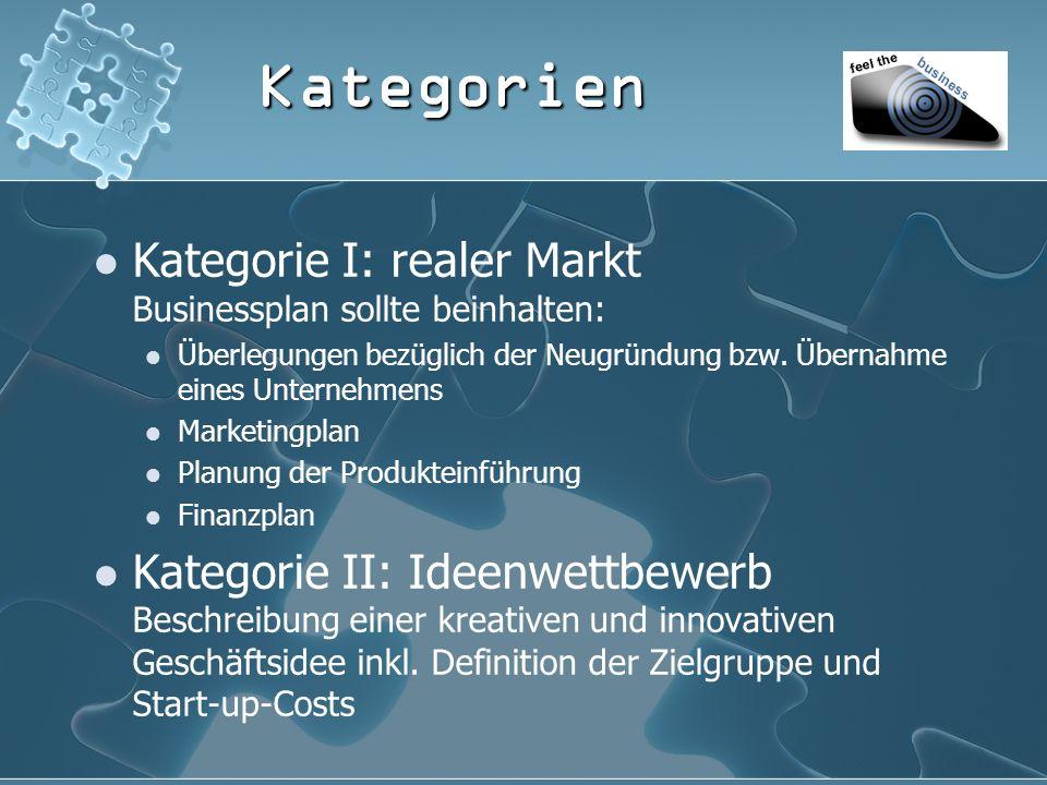 Kategorien Kategorie I: realer Markt Businessplan sollte beinhalten: Überlegungen bezüglich der Neugründung bzw.