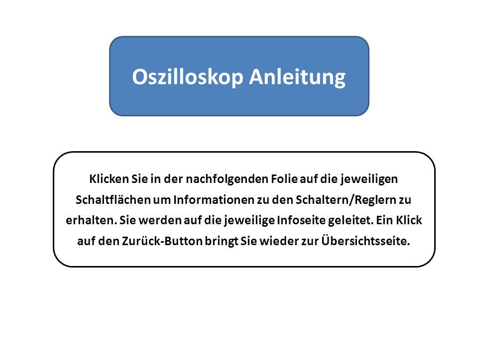 Oszilloskop Anleitung Klicken Sie in der nachfolgenden Folie auf die jeweiligen Schaltflächen um Informationen zu den Schaltern/Reglern zu erhalten. S
