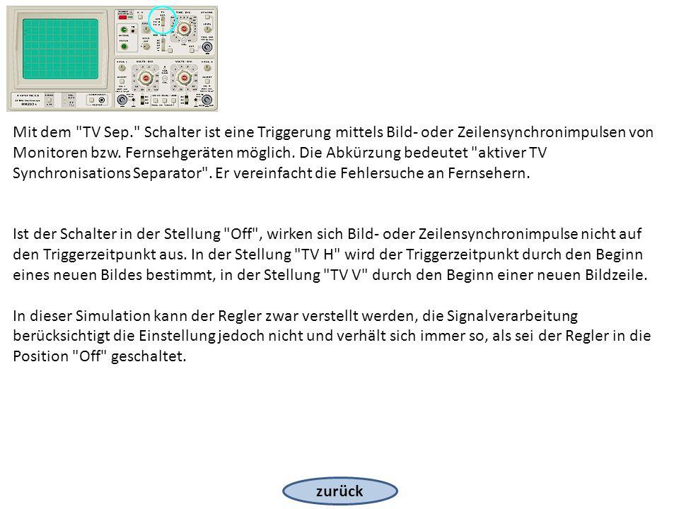 zurück Mit dem TV Sep. Schalter ist eine Triggerung mittels Bild- oder Zeilensynchronimpulsen von Monitoren bzw.