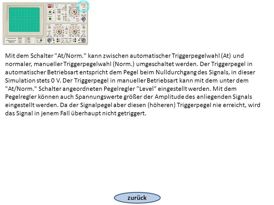 zurück Mit dem Schalter At/Norm. kann zwischen automatischer Triggerpegelwahl (At) und normaler, manueller Triggerpegelwahl (Norm.) umgeschaltet werden.