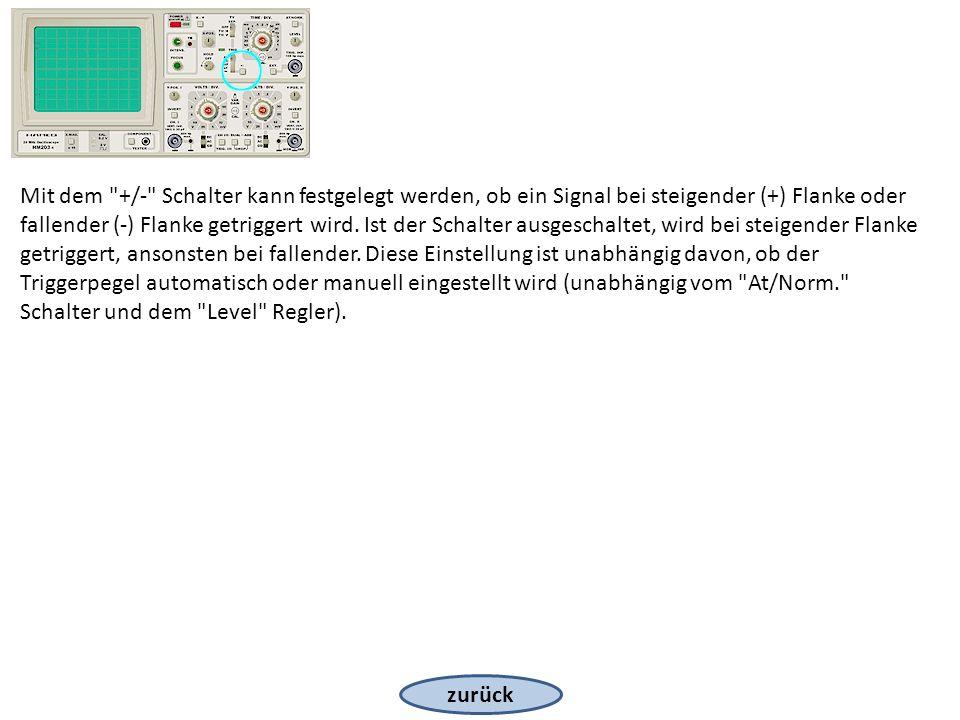 zurück Mit dem +/- Schalter kann festgelegt werden, ob ein Signal bei steigender (+) Flanke oder fallender (-) Flanke getriggert wird.