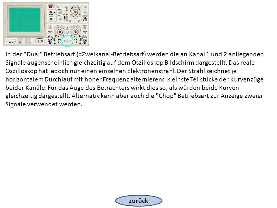 zurück In der Dual Betriebsart (=Zweikanal-Betriebsart) werden die an Kanal 1 und 2 anliegenden Signale augenscheinlich gleichzeitig auf dem Oszilloskop Bildschirm dargestellt.