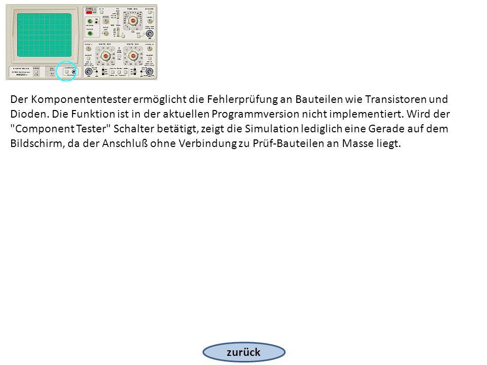 zurück Der Komponententester ermöglicht die Fehlerprüfung an Bauteilen wie Transistoren und Dioden. Die Funktion ist in der aktuellen Programmversion