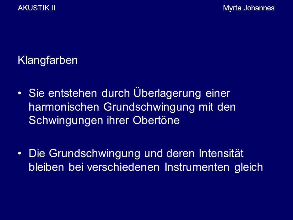 AKUSTIK IIMyrta Johannes Klangfarben Sie entstehen durch Überlagerung einer harmonischen Grundschwingung mit den Schwingungen ihrer Obertöne Die Grundschwingung und deren Intensität bleiben bei verschiedenen Instrumenten gleich