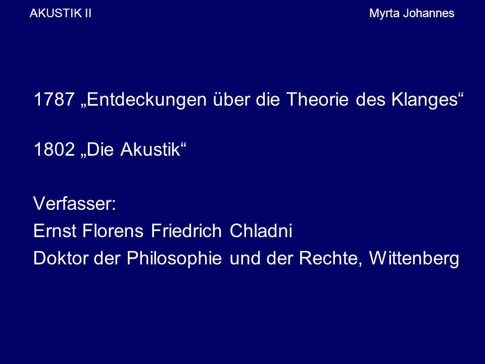 """AKUSTIK IIMyrta Johannes 1787 """"Entdeckungen über die Theorie des Klanges"""" 1802 """"Die Akustik"""" Verfasser: Ernst Florens Friedrich Chladni Doktor der Phi"""