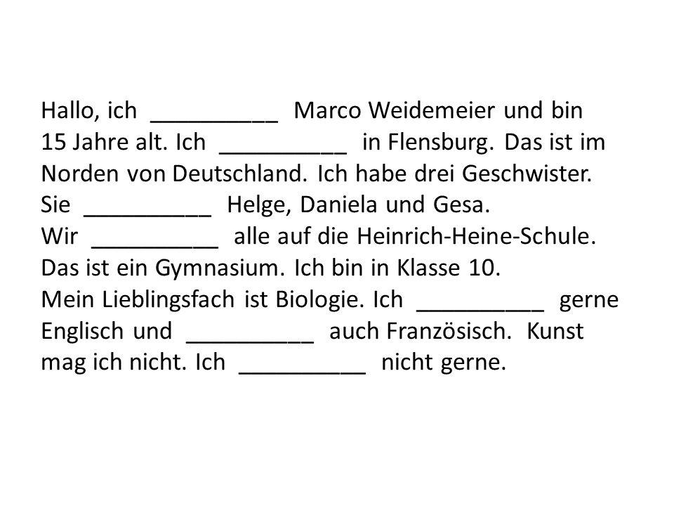Hallo, ich __________ Marco Weidemeier und bin 15 Jahre alt. Ich __________ in Flensburg. Das ist im Norden von Deutschland. Ich habe drei Geschwister