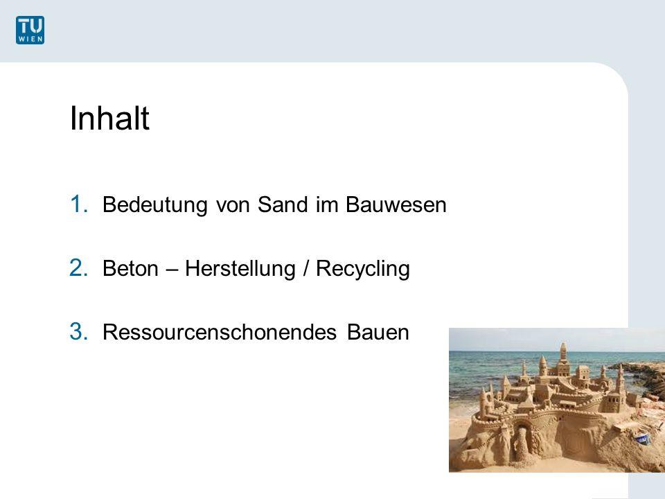 Inhalt 1. Bedeutung von Sand im Bauwesen 2. Beton – Herstellung / Recycling 3.