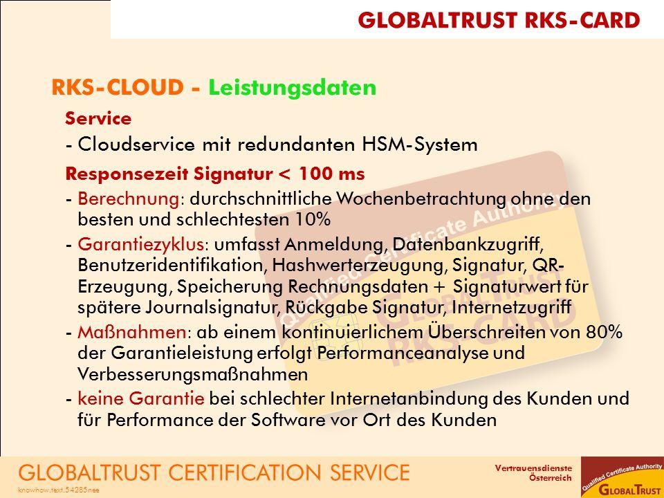 Vertrauensdienste Österreich RKS-CLOUD - Leistungsdaten Service -Cloudservice mit redundanten HSM-System Responsezeit Signatur < 100 ms -Berechnung: d