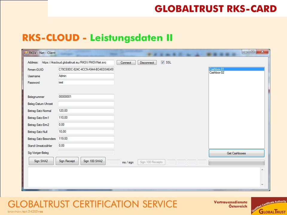 Vertrauensdienste Österreich RKS-CLOUD - Leistungsdaten II GLOBALTRUST CERTIFICATION SERVICE knowhow.text.54285nee GLOBALTRUST RKS-CARD
