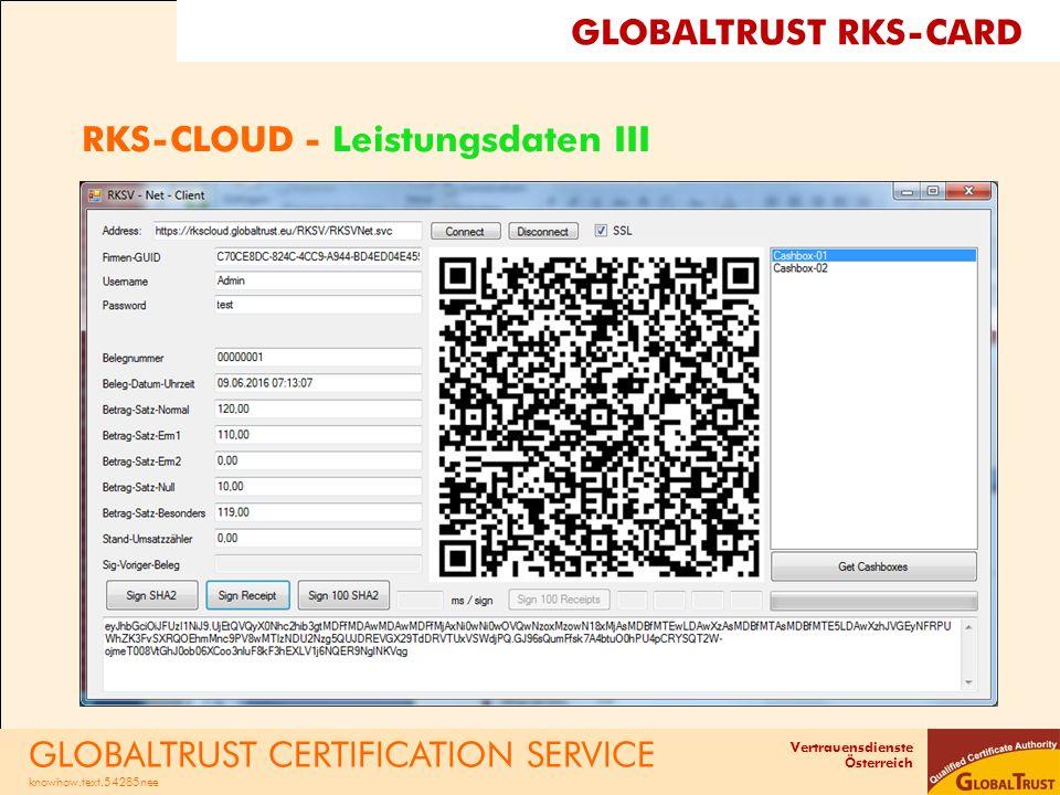 Vertrauensdienste Österreich RKS-CLOUD - Leistungsdaten III GLOBALTRUST CERTIFICATION SERVICE knowhow.text.54285nee GLOBALTRUST RKS-CARD