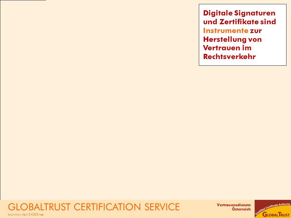 Vertrauensdienste Österreich Digitale Signaturen und Zertifikate sind Instrumente zur Herstellung von Vertrauen im Rechtsverkehr GLOBALTRUST CERTIFICA