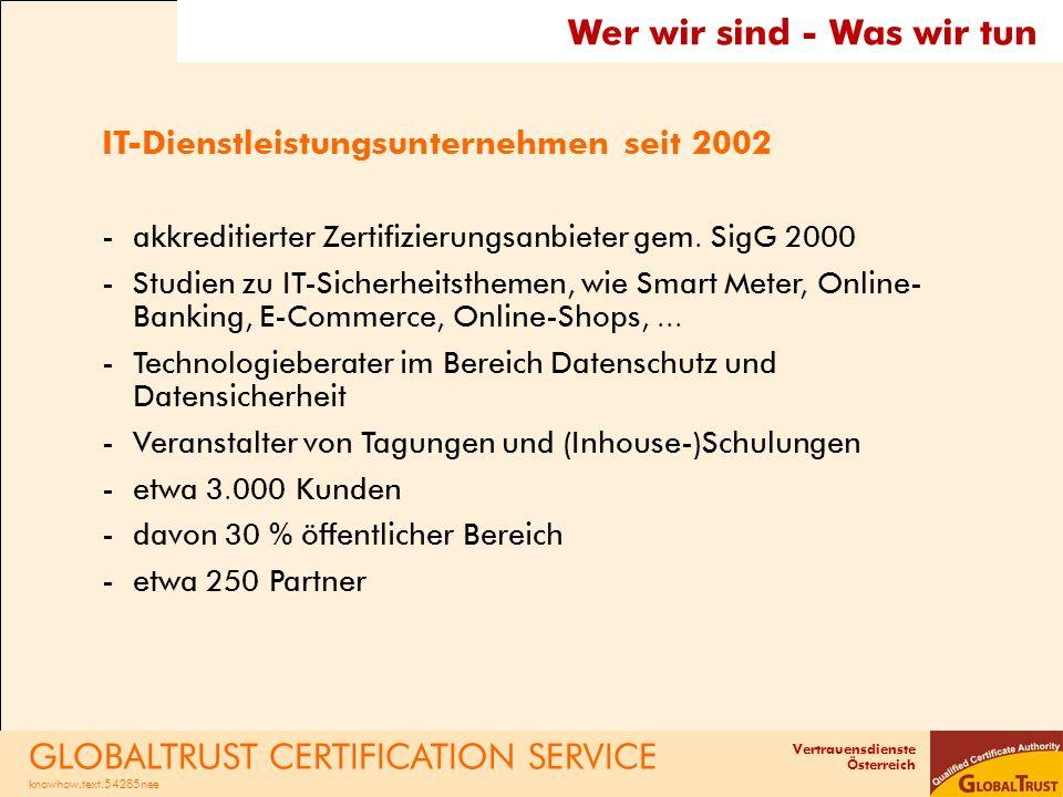 Vertrauensdienste Österreich Wer wir sind - Was wir tun IT-Dienstleistungsunternehmen seit 2002 -akkreditierter Zertifizierungsanbieter gem. SigG 2000