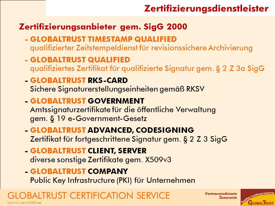 Vertrauensdienste Österreich Zertifizierungsdienstleister Zertifizierungsanbieter gem. SigG 2000 -GLOBALTRUST TIMESTAMP QUALIFIED qualifizierter Zeits