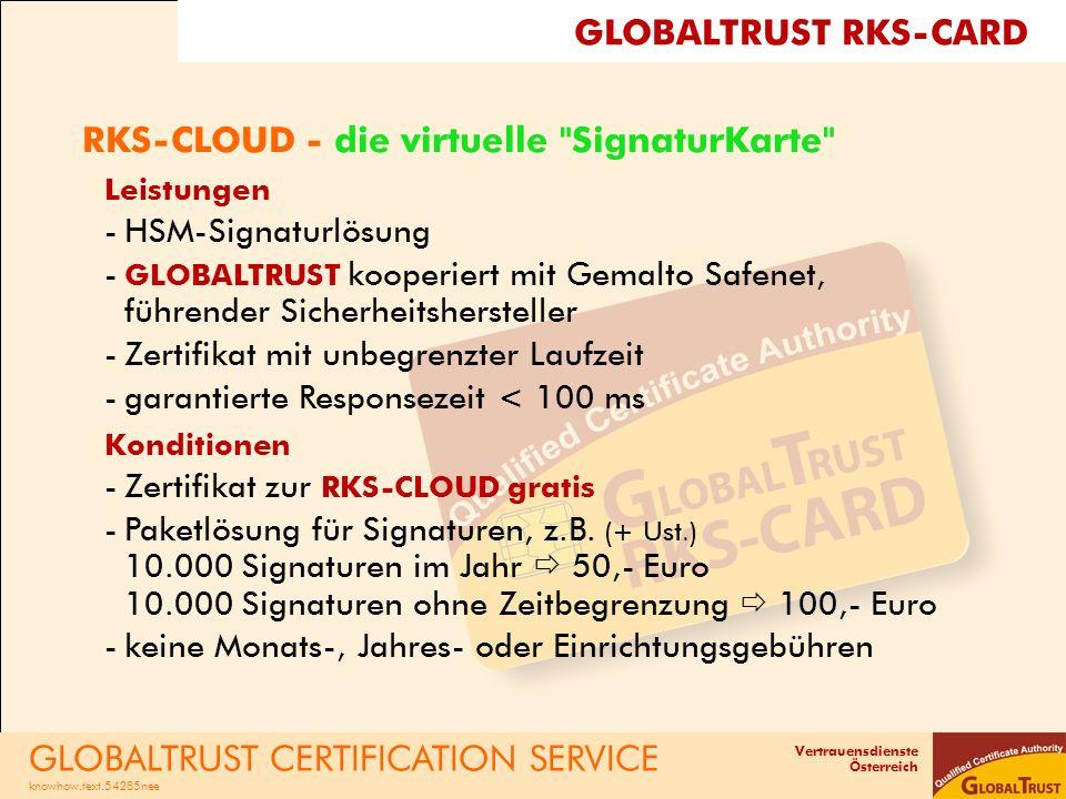 Vertrauensdienste Österreich RKS-CLOUD - die virtuelle