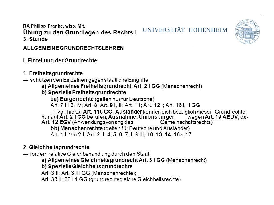 RA Philipp Franke, wiss. Mit. Übung zu den Grundlagen des Rechts I 3. Stunde ALLGEMEINE GRUNDRECHTSLEHREN I. Einteilung der Grundrechte 1. Freiheitsgr