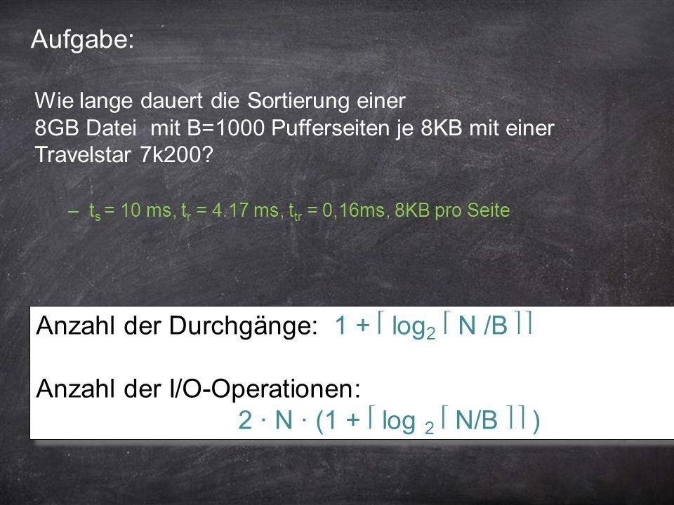14 Aufgabe: Anzahl der Durchgänge: 1 + log 2 N /B Anzahl der I/O-Operationen: 2 ∙ N ∙ (1 + log 2 N/B ) Anzahl der Durchgänge: 1 + log 2 N /B Anzahl de
