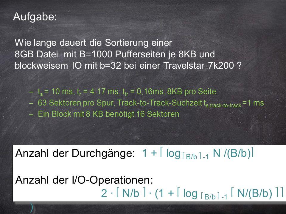 20 Aufgabe: Anzahl der Durchgänge: 1 + log B/b -1 N /(B/b) Anzahl der I/O-Operationen: 2 ∙ N/b ∙ (1 + log B/b -1 N/(B/b) ) Anzahl der Durchgänge: 1 +