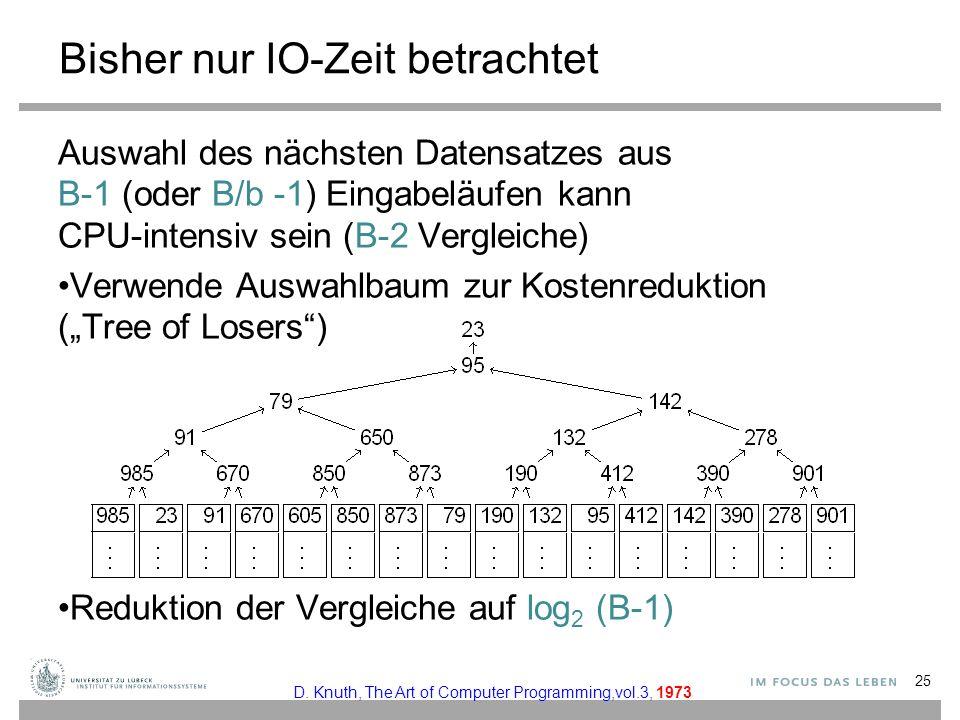 Bisher nur IO-Zeit betrachtet Auswahl des nächsten Datensatzes aus B-1 (oder B/b -1) Eingabeläufen kann CPU-intensiv sein (B-2 Vergleiche) Verwende Au
