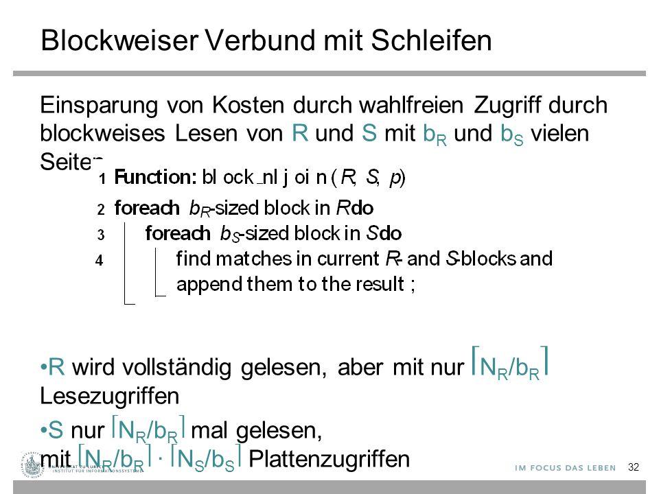 Blockweiser Verbund mit Schleifen Einsparung von Kosten durch wahlfreien Zugriff durch blockweises Lesen von R und S mit b R und b S vielen Seiten R w