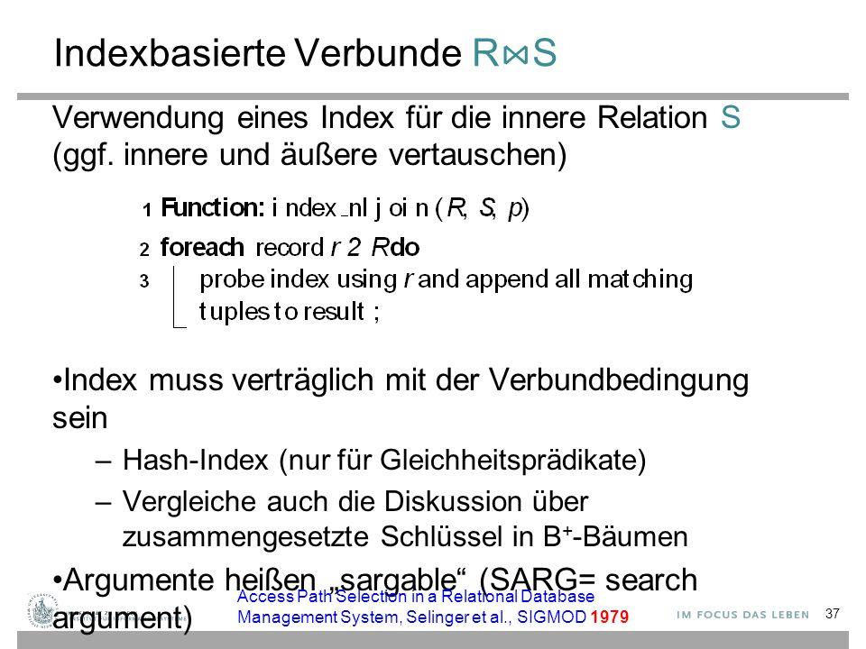 Indexbasierte Verbunde R ⋈ S Verwendung eines Index für die innere Relation S (ggf. innere und äußere vertauschen) Index muss verträglich mit der Verb