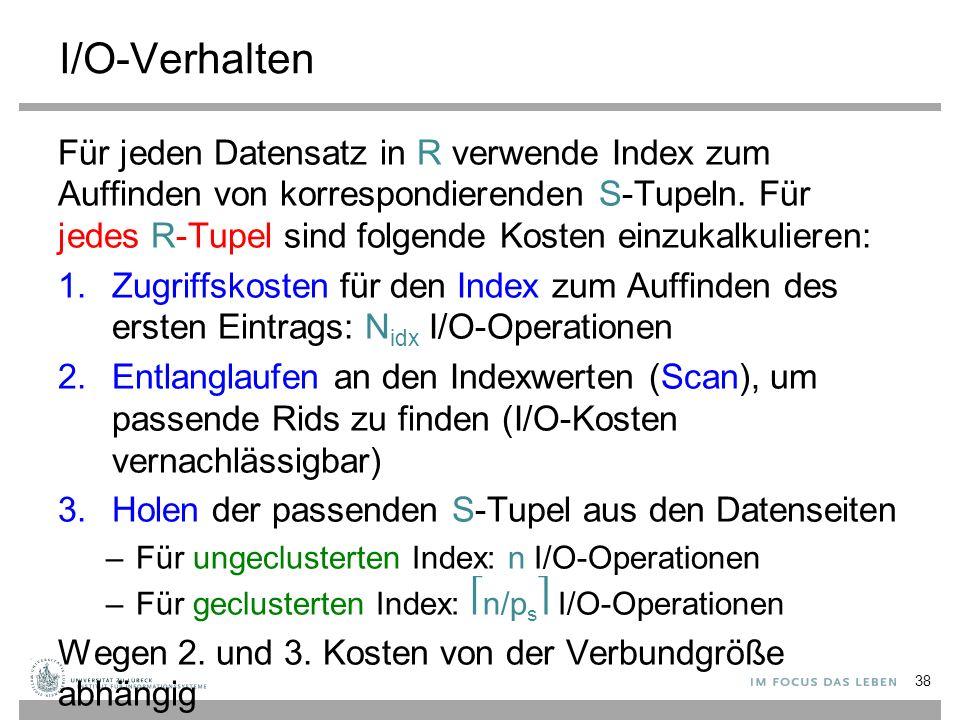 I/O-Verhalten Für jeden Datensatz in R verwende Index zum Auffinden von korrespondierenden S-Tupeln. Für jedes R-Tupel sind folgende Kosten einzukalku