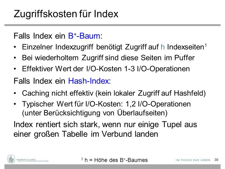 Zugriffskosten für Index Falls Index ein B + -Baum: Einzelner Indexzugriff benötigt Zugriff auf h Indexseiten 1 Bei wiederholtem Zugriff sind diese Se