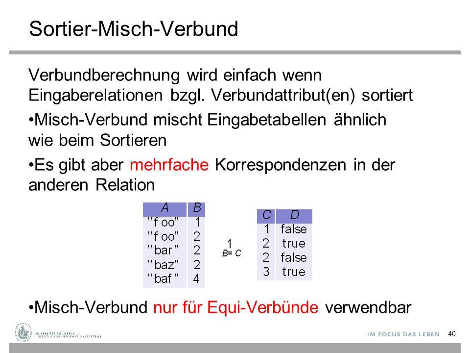 Sortier-Misch-Verbund Verbundberechnung wird einfach wenn Eingaberelationen bzgl. Verbundattribut(en) sortiert Misch-Verbund mischt Eingabetabellen äh