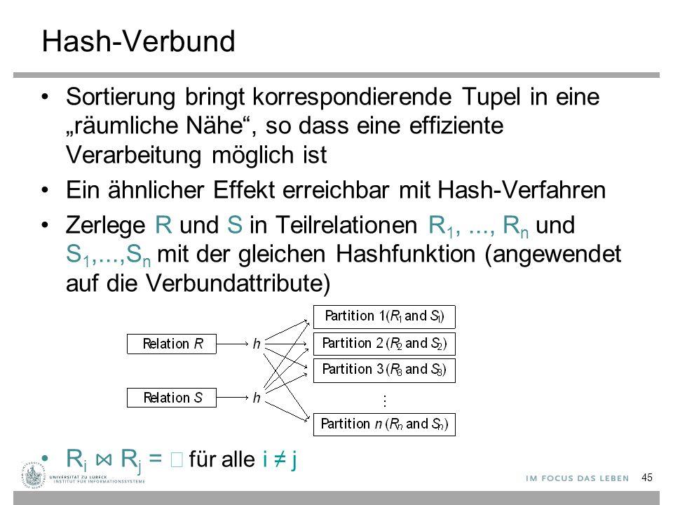 """Hash-Verbund Sortierung bringt korrespondierende Tupel in eine """"räumliche Nähe"""", so dass eine effiziente Verarbeitung möglich ist Ein ähnlicher Effekt"""