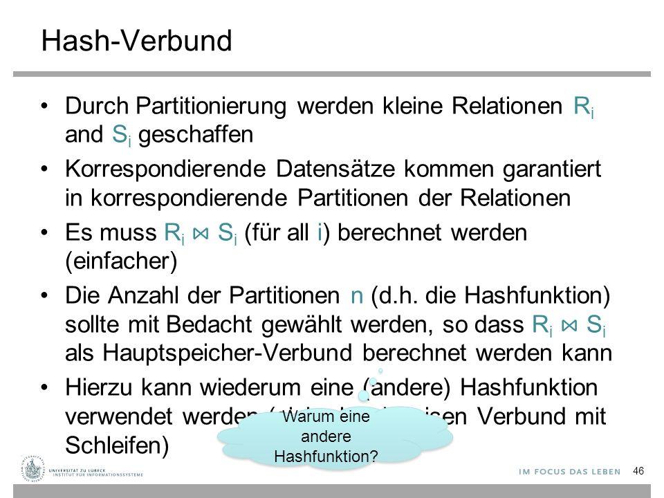 Hash-Verbund Durch Partitionierung werden kleine Relationen R i and S i geschaffen Korrespondierende Datensätze kommen garantiert in korrespondierende