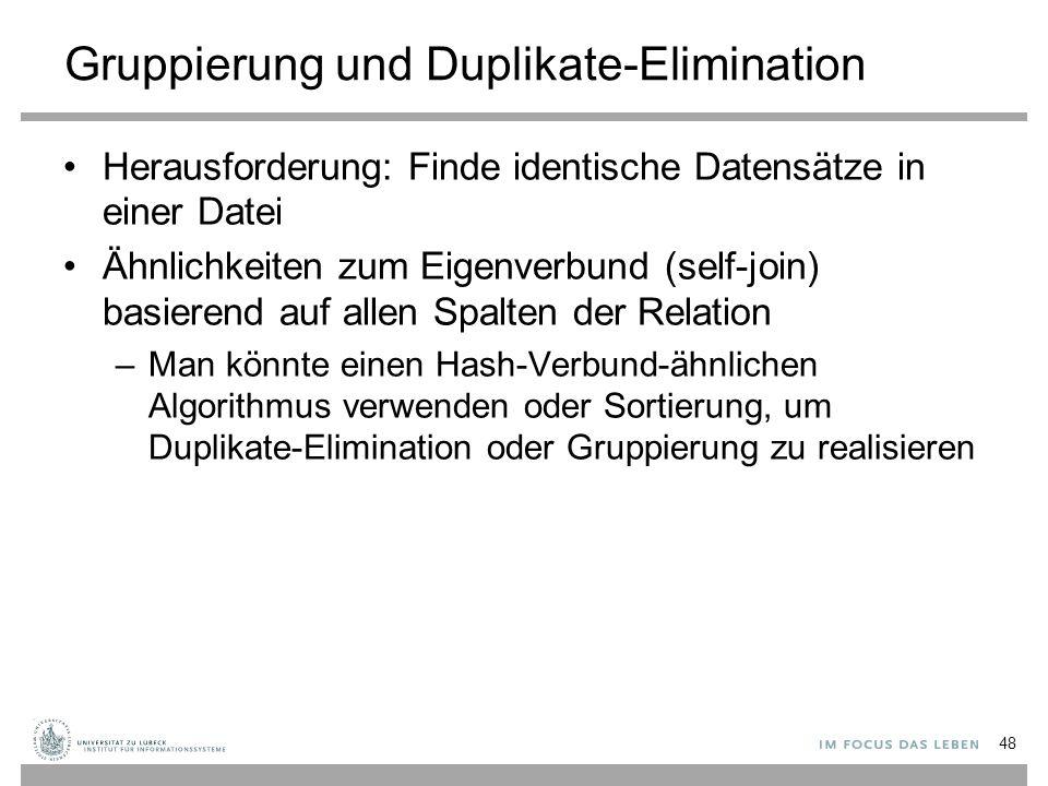 Gruppierung und Duplikate-Elimination Herausforderung: Finde identische Datensätze in einer Datei Ähnlichkeiten zum Eigenverbund (self-join) basierend