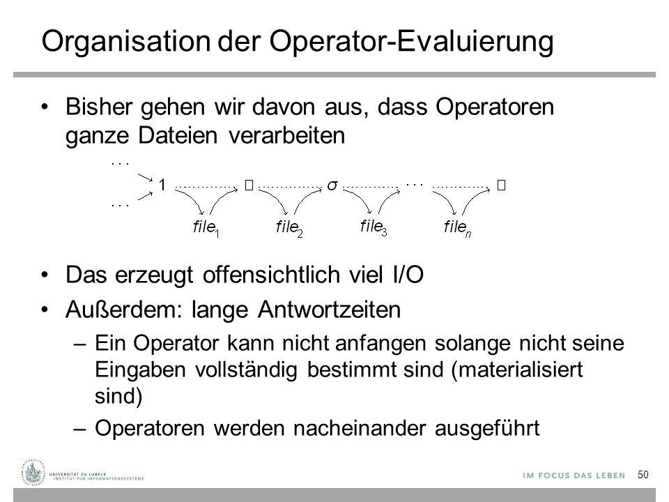 Organisation der Operator-Evaluierung Bisher gehen wir davon aus, dass Operatoren ganze Dateien verarbeiten Das erzeugt offensichtlich viel I/O Außerd