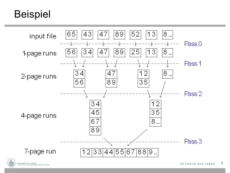 Gruppierung und Duplikate-Elimination Herausforderung: Finde identische Datensätze in einer Datei Ähnlichkeiten zum Eigenverbund (self-join) basierend auf allen Spalten der Relation –Man könnte einen Hash-Verbund-ähnlichen Algorithmus verwenden oder Sortierung, um Duplikate-Elimination oder Gruppierung zu realisieren 48