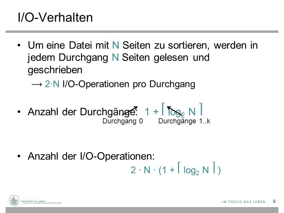 10 Aufgabe: Anzahl der Durchgänge: 1 + log 2 N Anzahl der I/O-Operationen: 2 ∙ N ∙ (1 + log 2 N ) Anzahl der Durchgänge: 1 + log 2 N Anzahl der I/O-Operationen: 2 ∙ N ∙ (1 + log 2 N ) Wie lange dauert die Sortierung einer 8GB Datei bei einer Travelstar 7k200.