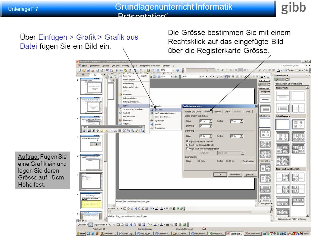 """Grundlagenunterricht Informatik """"Präsentation"""" Grafik einfügen Über Einfügen > Grafik > Grafik aus Datei fügen Sie ein Bild ein. Die Grösse bestimmen"""