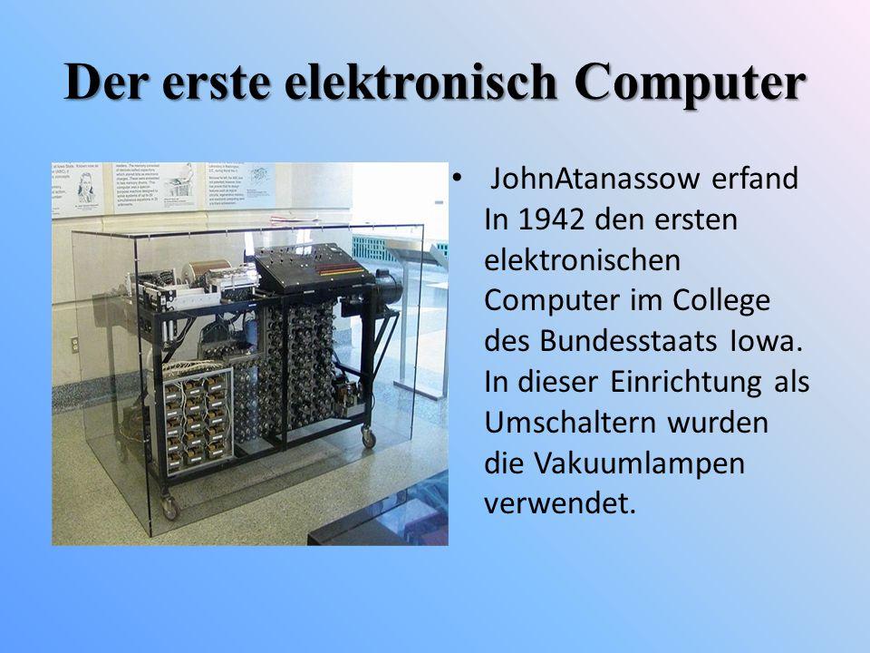 Der erste elektronisch Computer JohnAtanassow erfand In 1942 den ersten elektronischen Computer im College des Bundesstaats Iowa. In dieser Einrichtun