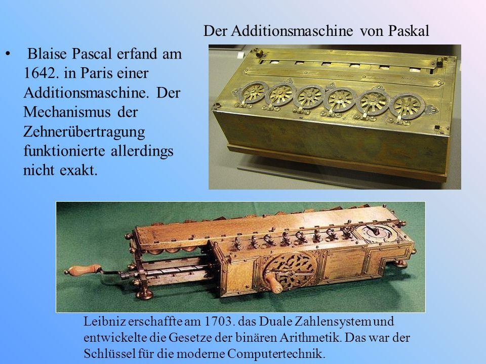 Der Additionsmaschine von Paskal Blaise Pascal erfand am 1642. in Paris einer Additionsmaschine. Der Mechanismus der Zehnerübertragung funktionierte a