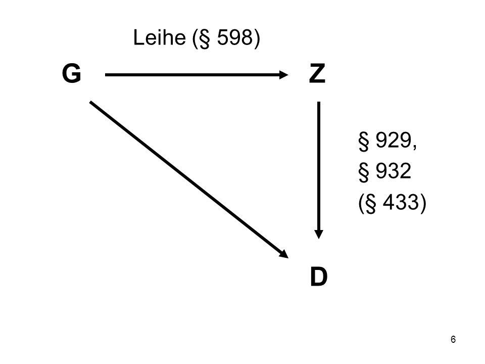 6 Leihe (§ 598) GZ § 929, § 932 (§ 433) D