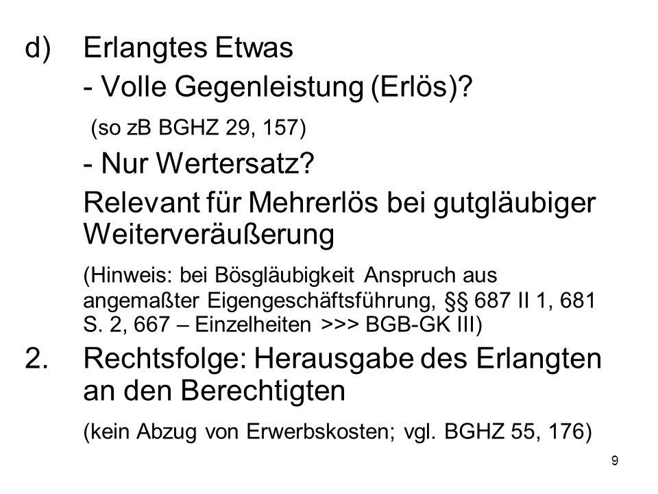 20 § 40Die allgemeine Nichtleistungs- (Eingriffs-)kondiktion nach § 812 I 1 Alt.