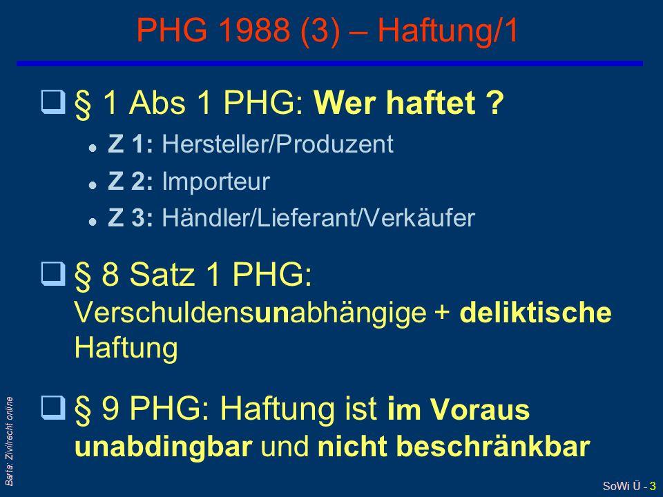 SoWi Ü - 3 Barta: Zivilrecht online PHG 1988 (3) – Haftung/1 q§ 1 Abs 1 PHG: Wer haftet .