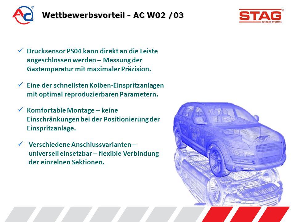 Wettbewerbsvorteil - AC W02 /03 Drucksensor PS04 kann direkt an die Leiste angeschlossen werden – Messung der Gastemperatur mit maximaler Präzision.
