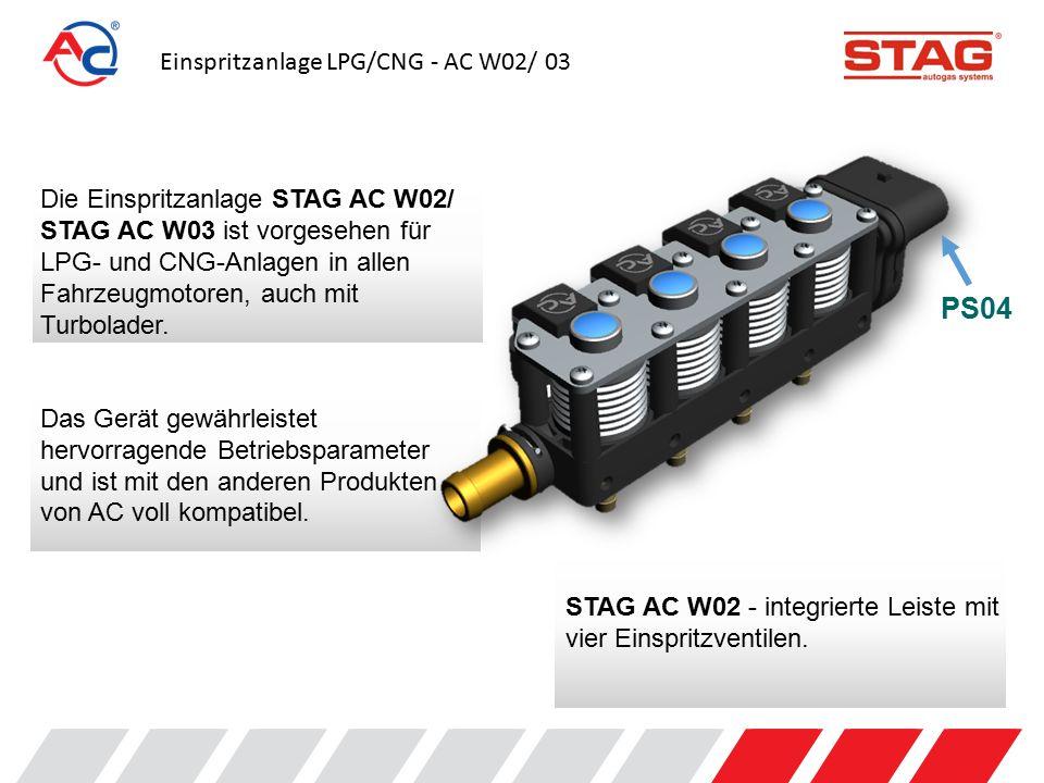 Einspritzanlage LPG/CNG - AC W02/ 03 Die Version STAG AC W03 besteht aus einer einzelnen Einspritzsektion und lässt sich in vielen verschiedenen Konfigurationen und Einstellungsvarianten montieren.