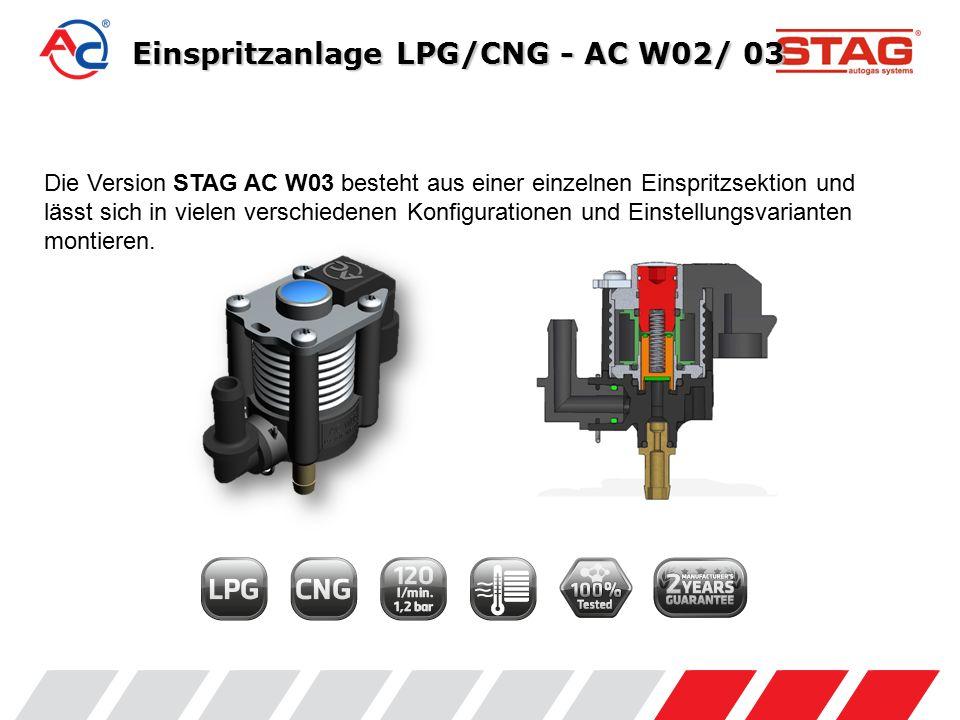 Normen und Zulassungen Die Einspritzanlage STAG AC W02 besitzt die Zulassungen E8 67R-01 7064, 110R-00 7065 und erfüllt die Anforderungen der UN/ECE-Regelung.