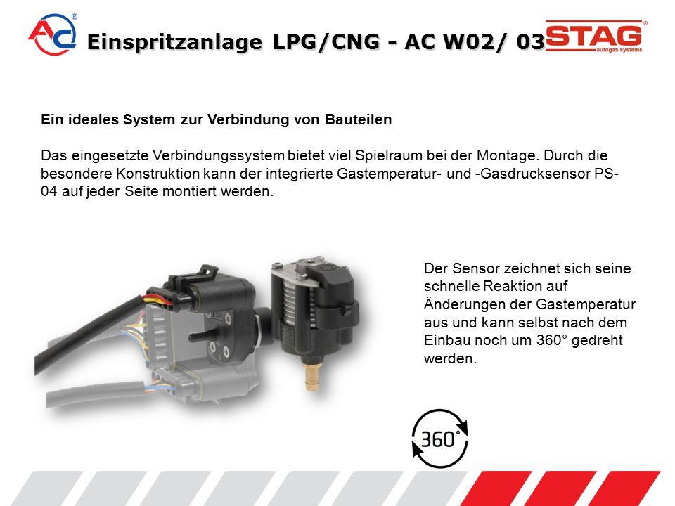 Anschlussvarianten - AC W02 Einspritzleiste ACW02: Montage des Sensors PS04 an der Versorgungsleitung mit T-Stück.