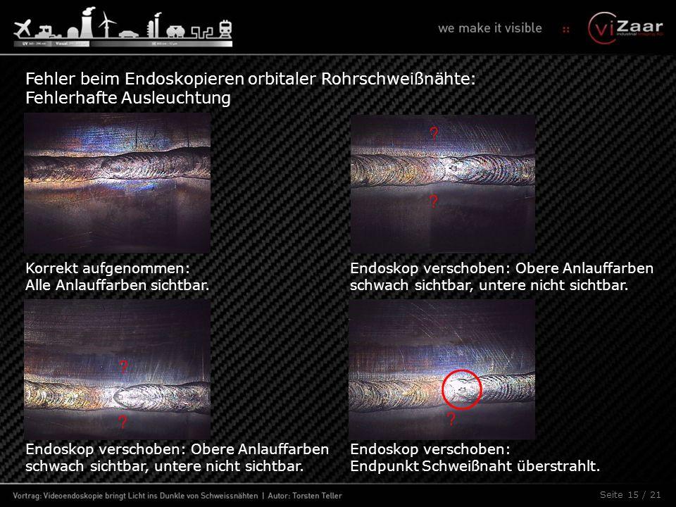 Seite 15 / 21 Fehler beim Endoskopieren orbitaler Rohrschweißnähte: Fehlerhafte Ausleuchtung Korrekt aufgenommen: Alle Anlauffarben sichtbar. Endoskop