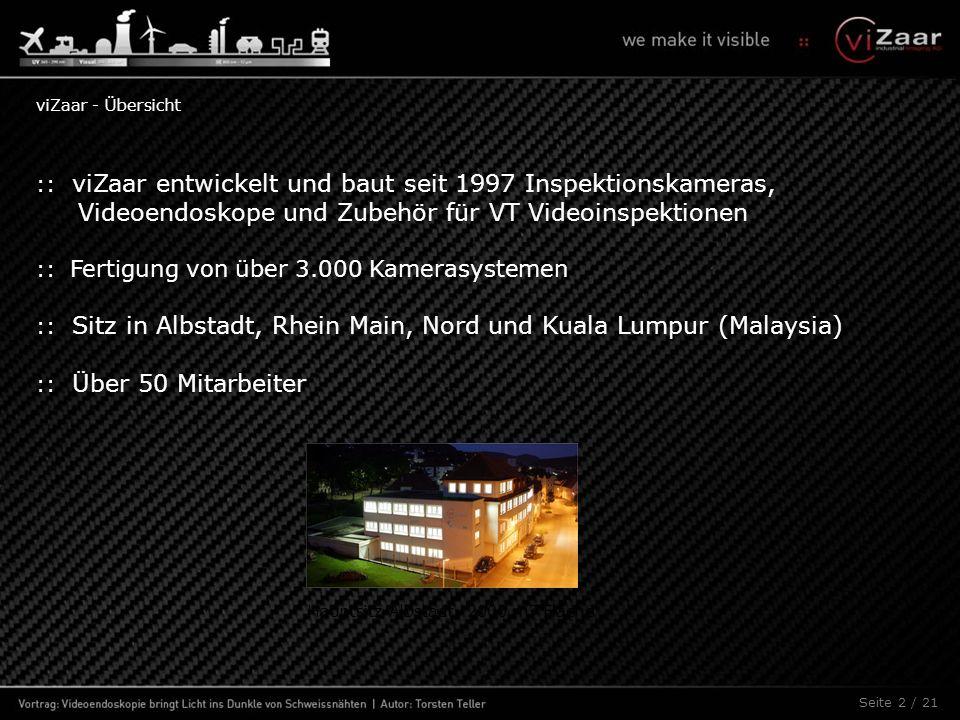 :: viZaar entwickelt und baut seit 1997 Inspektionskameras, Videoendoskope und Zubehör für VT Videoinspektionen :: Fertigung von über 3.000 Kamerasystemen :: Sitz in Albstadt, Rhein Main, Nord und Kuala Lumpur (Malaysia) :: Über 50 Mitarbeiter Seite 2 / 21 Hauptsitz Albstadt, 2000 m² Fläche viZaar - Übersicht