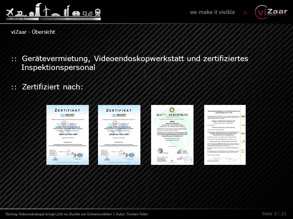 Seite 3 / 21 :: Gerätevermietung, Videoendoskopwerkstatt und zertifiziertes Inspektionspersonal :: Zertifiziert nach: viZaar - Übersicht